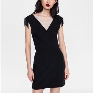 Zara fringed shift dress